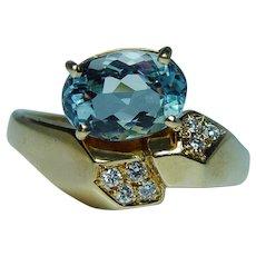 H Stern Aquamarine Diamond Ring 18K Gold Designer