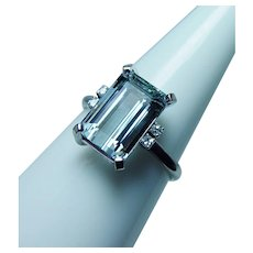 Vintage  18K White Gold Aquamarine Diamond Ring Designer