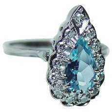 Vintage H Stern Aquamarine Diamond Ring 18K White Gold Designer Signed