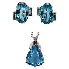 Vintage H Stern 18K Gold Aquamarine Diamond Pendant Earrings Set Designer Signed