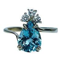 Vintage H Stern Aquamarine Diamond Ring 18K Gold Designer Signed Numbered
