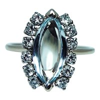 Marquise Aquamarine Diamond Ring 14K Gold Estate
