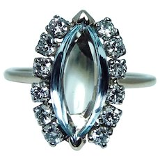 Marquise Aquamarine Diamond Ring 14K Gold Estate