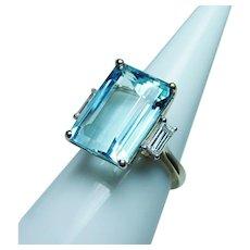 Vintage 15ct Aquamarine Large Baguette Diamond Ring 18K Gold Estate