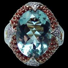 Vintage Aquamarine Diamond Ring 14K Gold Heavy Huge 11ct Estate