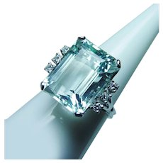 Vintage 15ct Flawless Aquamarine Diamond Ring 14K White Gold Estate