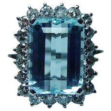 Flawless 8ct Aquamarine Diamond 14K White Gold Halo Ring