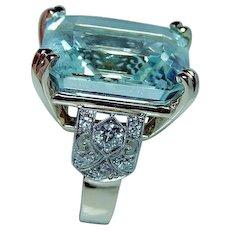 ART DECO 41ct Aquamarine European Diamond 14K Platinum Ring GIA VIDEO