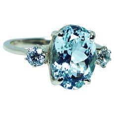 5ct Aquamarine Old European Diamond 14K Gold 3 stone Ring