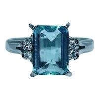 Vintage Aquamarine Diamond Platinum Ring Estate