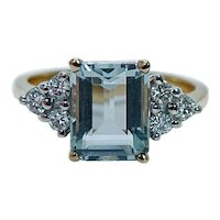 Designer Aquamarine Diamond Ring 14K Gold Estate