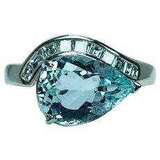 Vintage Aquamarine Asscher Diamond Ring 14K Gold Estate