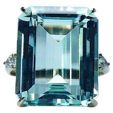 Giant Aquamarine Pear Diamond 18K Gold 3 stone Cocktail Ring 16ct Vintage Estate
