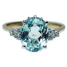 Aquamarine Diamond 18K Gold Ring Vintage Estate High Quality