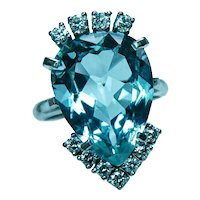 Vintage 9.5ct Aquamarine Diamond Cocktail Ring 18K White Gold Estate