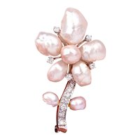 Diamond Genuine Pearl 14K White Gold Large Flower Brooch