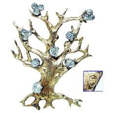 Antique Old Mine cut OMC Diamond Tree of Life Brooch 18K Gold Rare