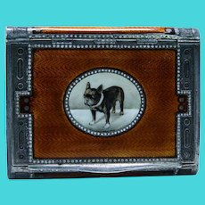 Austrian Silver Gilt Orange Enamel Engraved Boxer Bulldog Dog Box 120 grams