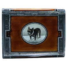 Austrian Silver Gilt Orange Enamel Engraved Boxer Bulldog Dog Box 129 grams
