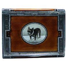 Austrian Silver Gilt Orange Enamel Engraved Boxer Bulldog Dog Box 120 grams