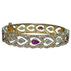5ct Rose cut Diamond 2.5ct Ruby 22K Gold Bracelet Designer 37gr