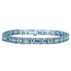 Vintage 6.5 carats Diamond Baguette Tennis Line Bracelet 14K White Gold Estate