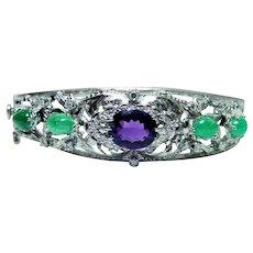 Amethyst Emerald Diamond Bracelet HEAVY 14K White Gold