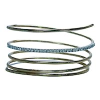 Diamond Eternity Bracelet 18K Gold Flexible Snake Bangle Heavy