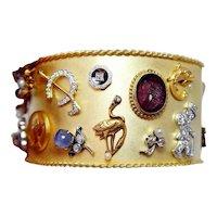 Charm Pins Bracelet Diamond Sapphire 18K Platinum 14K 3oz+