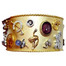 99 grams Charm Bracelet Diamond Sapphire 18K Platinum 14K