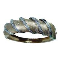 Diamond Chunky Bracelet 14K Gold Heavy 1960s 46gr