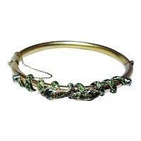 Snake Enamel Bracelet European Diamond 14K Gold HEAVY