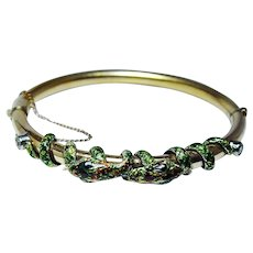 Snake Enamel Bracelet European Diamond 14K Gold HEAVY