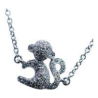 Diamond Monkey Bracelet 18K White Gold Estate Designer