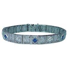 Art Deco Platinum 14K Gold European Diamond French Sapphire Bracelet