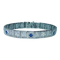Art Deco Platinum 14K Gold European Diamond French Sapphire Bracelet