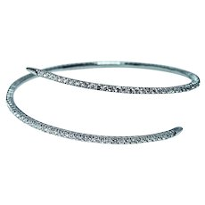 2.2ct Diamond Eternity Bracelet 14K White Gold Flexible Bangle