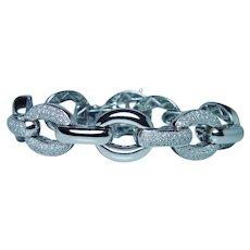 Vintage 320-Pave Diamond Bracelet 14K White Gold Heavy 34.7gr Estate