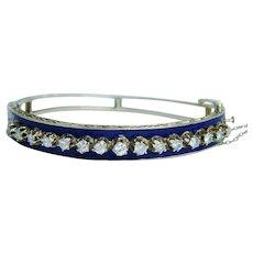 Vintage Diamond 14K Gold  Bracelet Cobalt Blue Enamel 1.20ct Estate