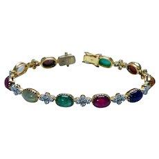 Emerald Sapphire Ruby Moonstone Cats Eye Diamond Bracelet 18K Gold Estate