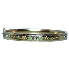 Art Nouveau Old European Diamond Enamel Bracelet 18K Gold Antique