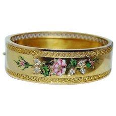 Antique Old Miner Diamond Enamel Bracelet 18K Gold Victorian Estate