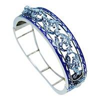 Rose Cut Diamond Blue Enamel Bracelet 14K Gold Estate VIDEO