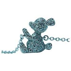 Diamond Mickey Mouse Bracelet 18K White Gold Estate Designer Retail $1,010