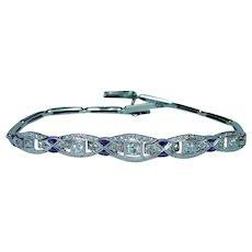 Art Deco 18K Gold Old European Diamond French Sapphire Bracelet Estate