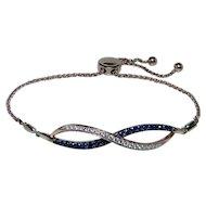 """Designer Levian Sapphire Diamond Bracelet 14K Rose Gold Adjustable up to 9"""""""