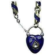Antique 18K Gold Diamond Guilloché Enamel Memorial Locket Bracelet c1845