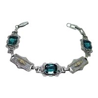 ART DECO Blue Spinel Filigree Carved Flower Bracelet 10K White Gold