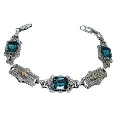 ART DECO Blue Spinel Filigree Carved Flower Bracelet 10K White Gold