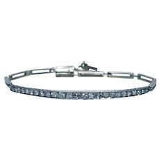 ART DECO Mine cut Diamond Etched Bracelet Platinum Estate